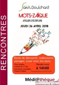 Atelier d'écriture «Mots-Zaïque» la médiathèque de Saint-Doulchard!