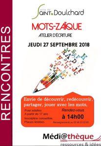 Atelier d'écriture «Mots-Zaïque» la médiathèque de Saint-Doulchard !