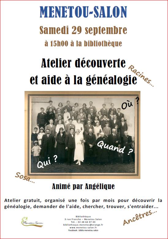 Atelier généalogie Menetou-Salon dès le 29 septembre